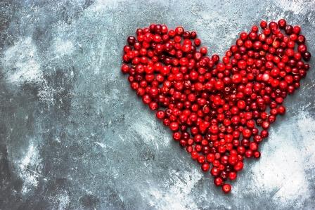 cervene srdce z bobul brusinek